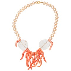 Coral Branch Rock Crystal Freshwater Pearl Gilded Silver Beaded Chic Necklace