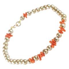 Coral Branches Freshwater Pearl 18 Karat Yellow Gold Beaded Handmade Bracelet