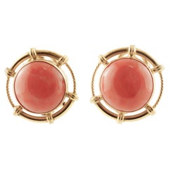 Red Coral Buttons, 18 Karat Yellow Gold Clip-on Earrings