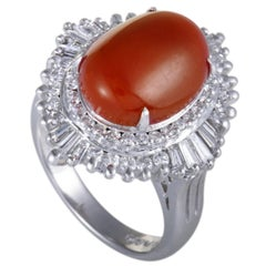 Coral Cabochon and Baguette Diamond Platinum Cocktail Ring