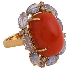 Coral Cabochon and Sapphire Carved Leaves and Diamond Cocktail Ring in Gold