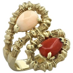 Coral Cabochon Bypass Ring