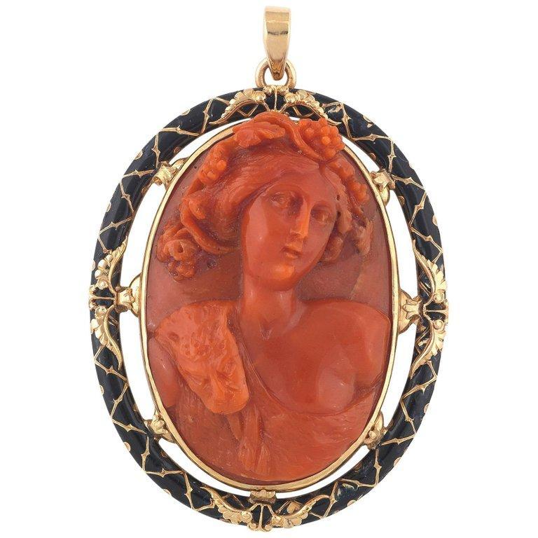 Uncut Corallium Rubrum Cameo Gold Black Enamel Dionysus Pendant For Sale
