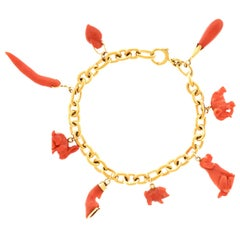 Coral Charms on a Gold Bracelet One-of-a-Kind