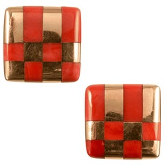 Coral Checkerboard Earrings by Angela Cummings for Tiffany & Co.