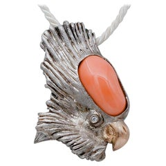 Coral, Diamond, 9Kt Rose Gold and Silver Parrot Shape Brooch/ Pendant Necklace
