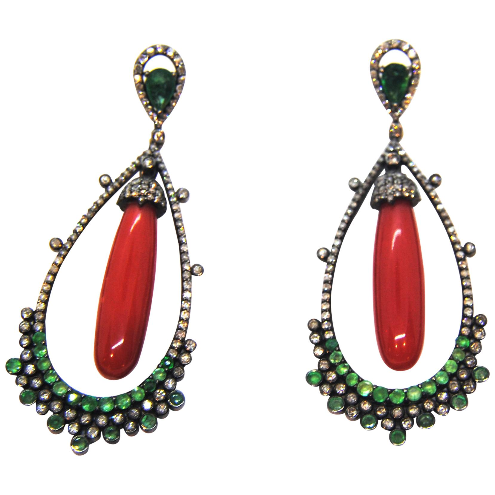 Coral, Diamond, and Emerald Chandelier 18 Karat Gold and Silver Earrings
