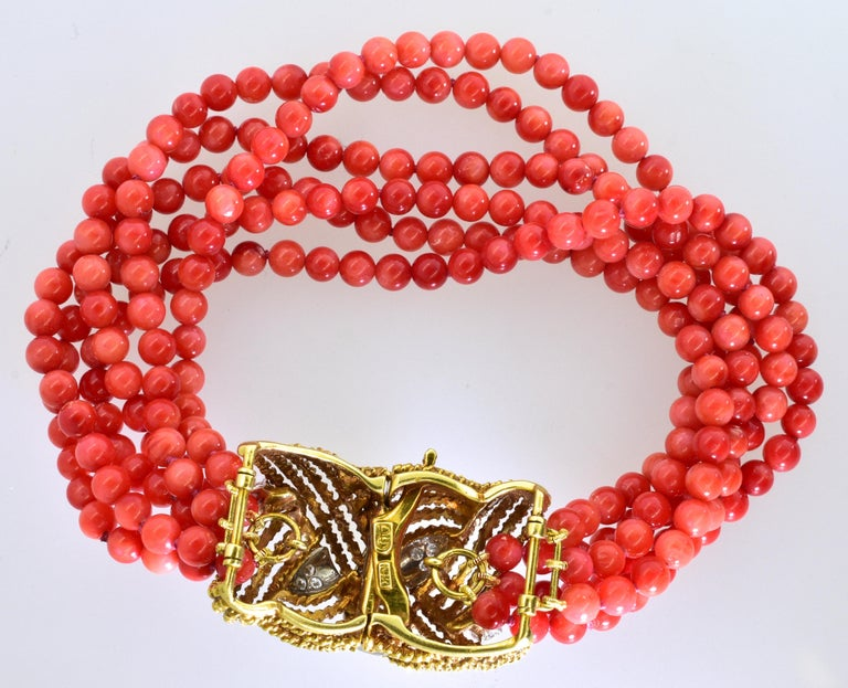 Contemporary Coral, Diamond and Gold Bracelet, circa 1965 For Sale