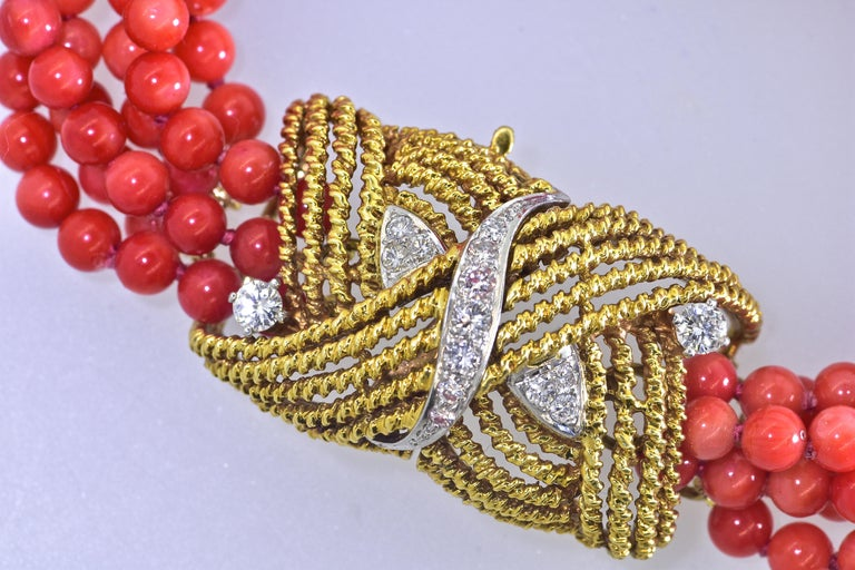 Coral, Diamond and Gold Bracelet, circa 1965 In Excellent Condition For Sale In Aspen, CO