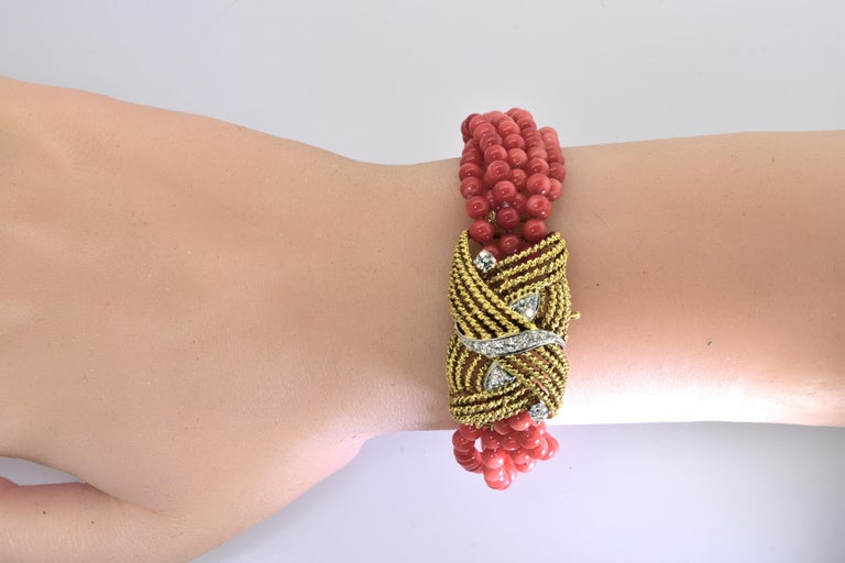 Women's or Men's Coral, Diamond and Gold Bracelet, circa 1965 For Sale