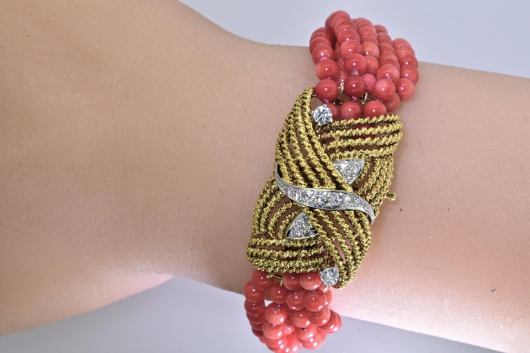 Coral, Diamond and Gold Bracelet, circa 1965 For Sale 2
