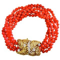 Coral, Diamond and Gold Bracelet, circa 1965