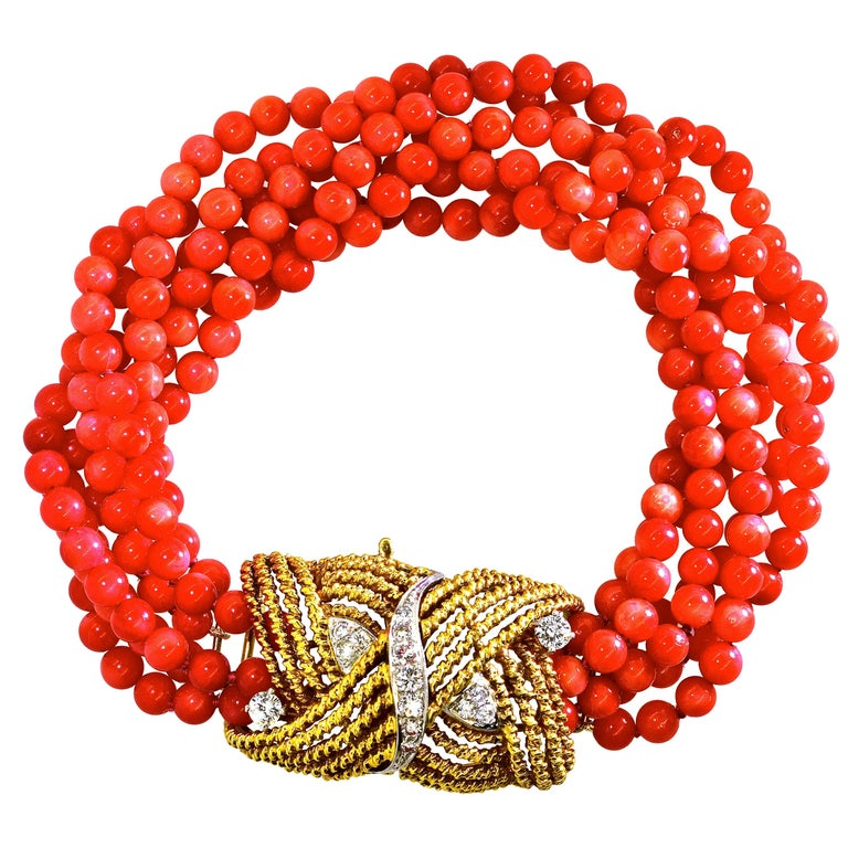 Coral, Diamond and Gold Bracelet, circa 1965 For Sale