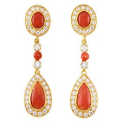 Coral, Diamond, and Gold Pendant-Earrings