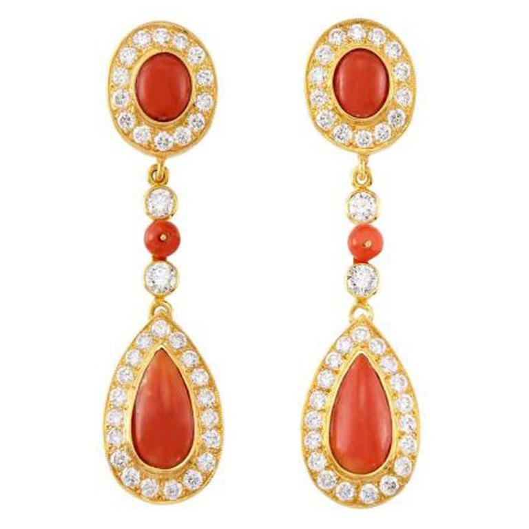 Coral, Diamond, and Gold Pendant-Earrings For Sale