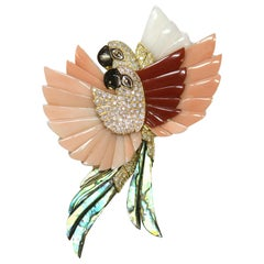 Coral, Diamond and Mother of Pearl 18 Karat Gold Parrot Brooch