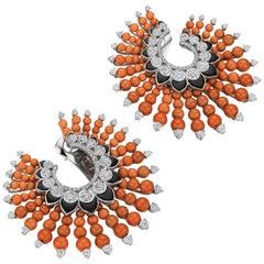 Siegelson Coral Diamond Onyx White Gold Spiral Hoop Earrings
