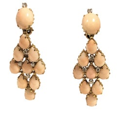 Coral Diamond and Yellow Gold Large Chandelier Earrings