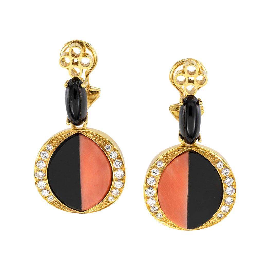 Coral Diamond Black Onyx Clip On Yellow Gold Drop Earrings