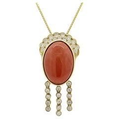 Coral Diamond Dangle Gold Tassel Pendant