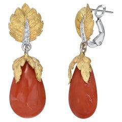 Coral Diamond Drop Earrings