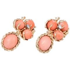 Coral Diamond Drop Earrings Vintage 1960s 14 Karat Gold Estate Fine Jewelry