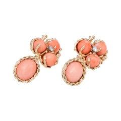 Coral Diamond Drop Earrings Vintage 60s 14k Yellow Gold Estate Fine Jewelry