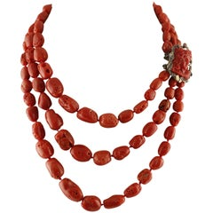 Rows and Engraved Face Red Corals,Diamonds,Garnets Rose Gold and Silver Necklace