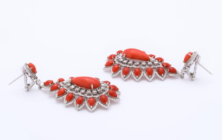 Coral Diamond Gold Drop Earrings For Sale 2