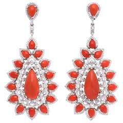 Coral Diamond Gold Drop Earrings