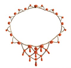 Antique Coral Diamond Gold Necklace France 1870
