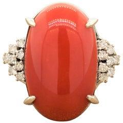 Coral Diamond Platinum Ring