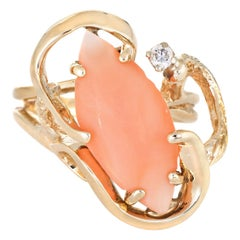 Coral Diamond Ring Vintage 14 Karat Yellow Gold Cocktail Jewelry Estate Fine