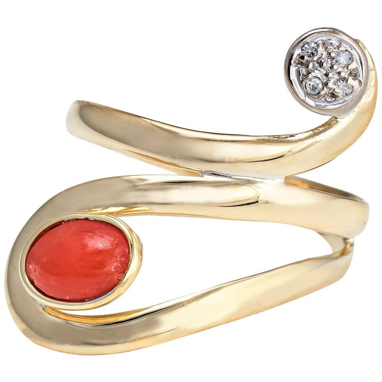 Coral Diamond Ring Vintage 18 Karat Yellow Gold Estate Fine Jewelry Wide Band For Sale