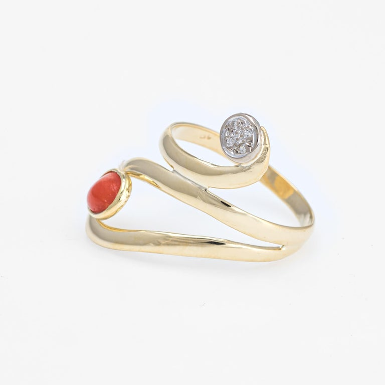Oval Cut Coral Diamond Ring Vintage 18 Karat Yellow Gold Estate Fine Jewelry Wide Band For Sale