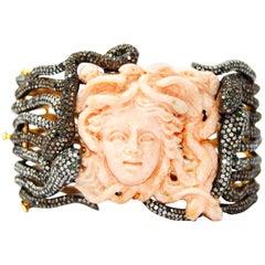 Coral Diamond Tsavorite Gold Silver Medusa Bracelet