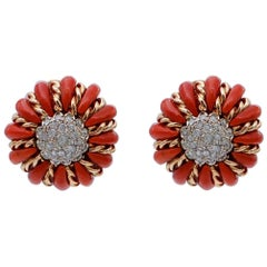 Coral, Diamonds, 14 Karat Rose and White Gold Stud Earrings