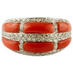 Coral, Diamonds, 14 Karat White Gold Band Ring