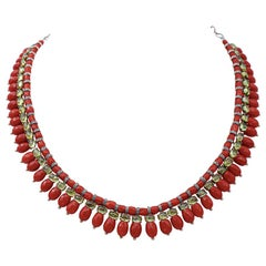 Coral, Diamonds, 9 Karat Rose Gold and Silver Necklace