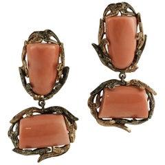 Orange Coral, Diamonds, 9 Karat Rose Gold and Silver Retro Dangle Earrings