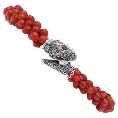 Coral, Diamonds, 9 Karat Rose Gold and Silver Snake Bracelet