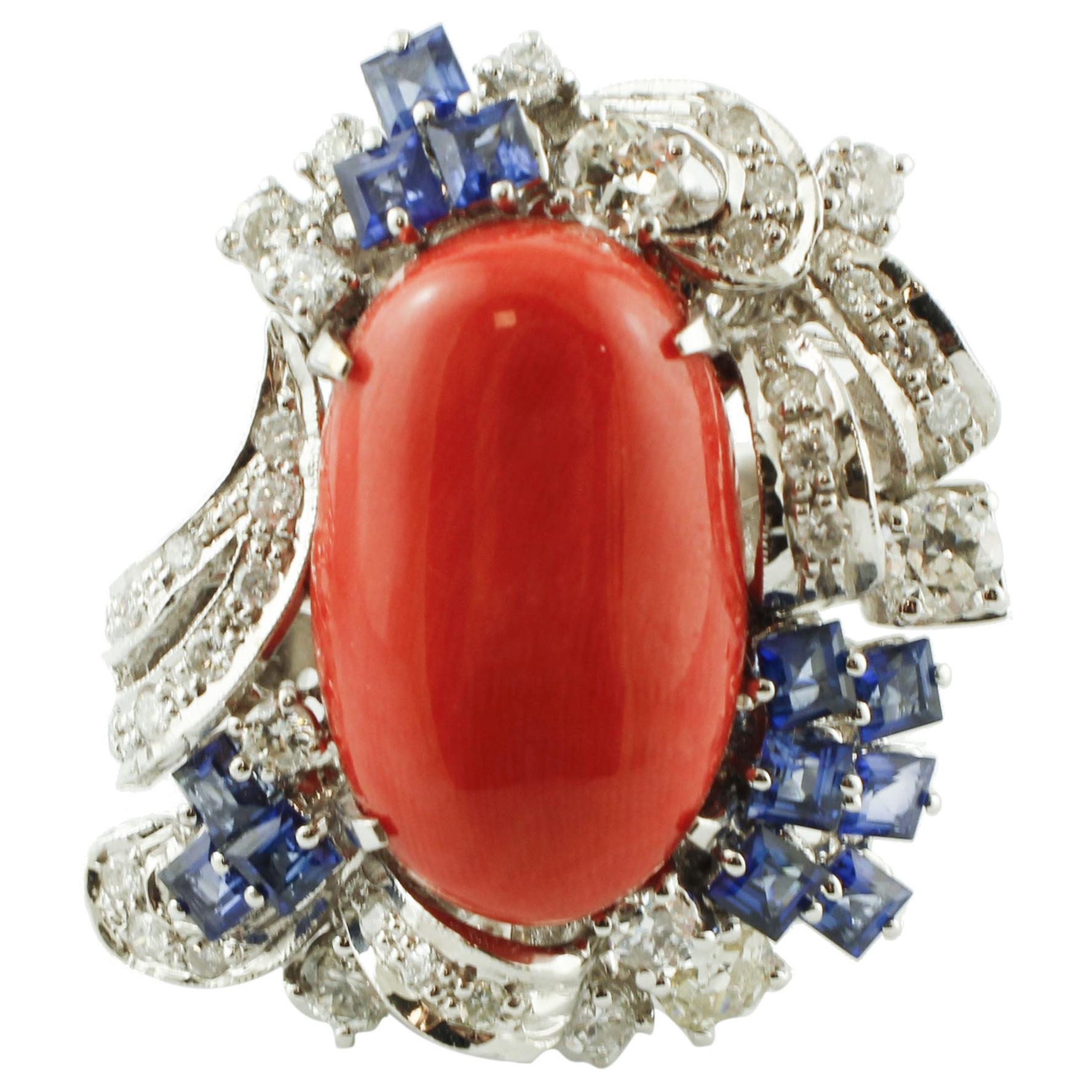 Coral, Diamonds, Blue Sapphires, 14 Karat White Gold Cocktail Ring