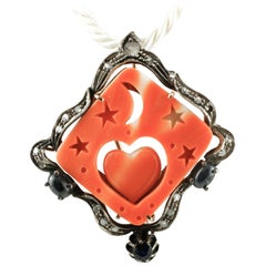 Orange Stone, Diamonds, Blue Sapphires, Gold and Silver Retrò Pendant/Brooch
