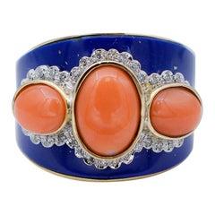 Coral, Diamonds, Lapis, 14 Karat Rose and White Gold Band Ring