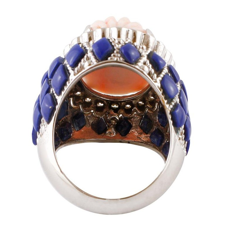 Retro Coral, Diamonds, Lapis Lazuli, White Gold Cocktail Ring For Sale
