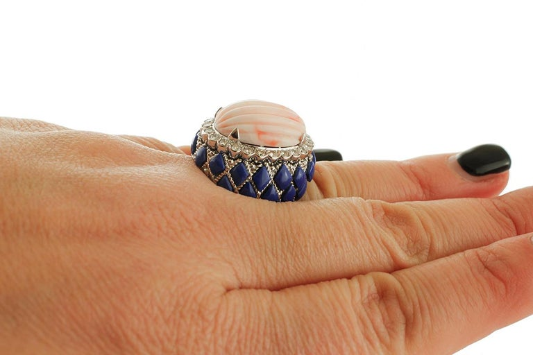 Coral, Diamonds, Lapis Lazuli, White Gold Cocktail Ring For Sale 1