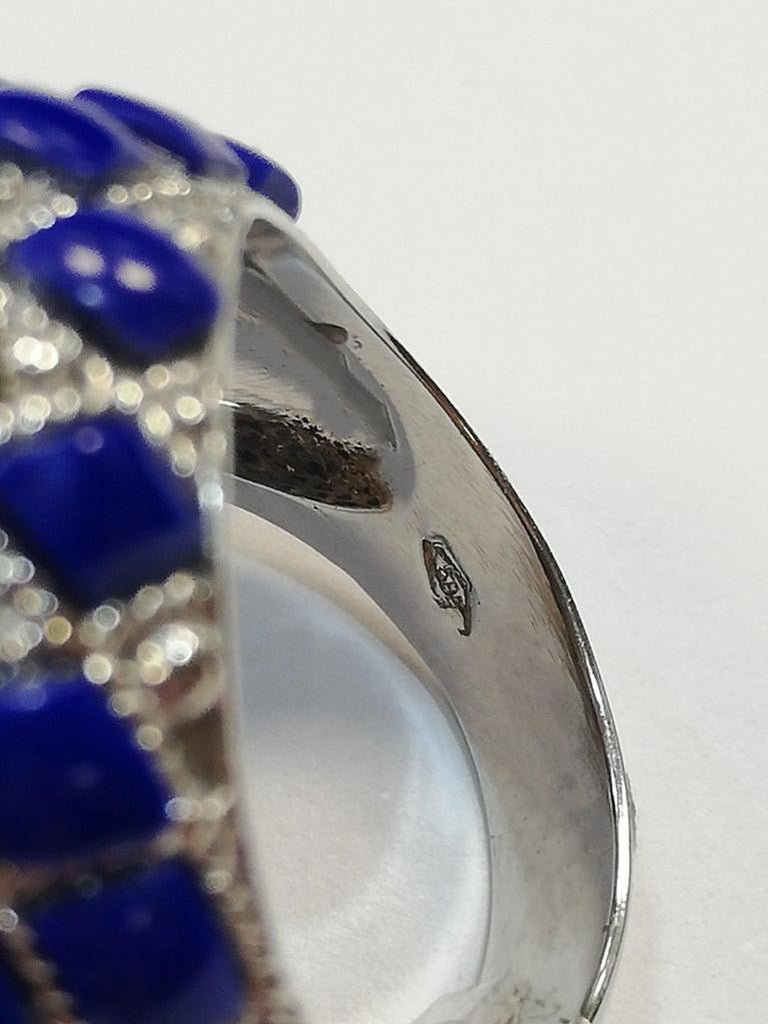 Coral, Diamonds, Lapis Lazuli, White Gold Cocktail Ring For Sale 2