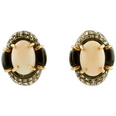 Oval Shape Pink Coral, Diamonds, Onyx, 14K Rose Gold and Silver Clip-on Earrings