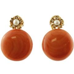 Coral, Diamonds, Pearls, 14 Karat Rose Gold Earrings