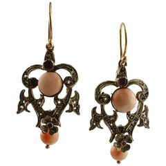 Coral, Diamonds, Rubies, 14 Karat Rose Gold and Silver Retro Earrings